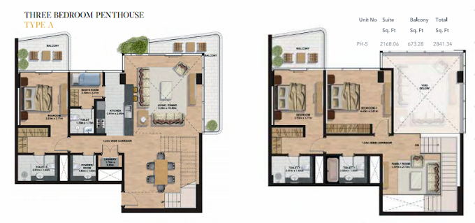 Planning of the apartment Penthouses, 2841.34 in Gemini Splendor Apartments & Townhouses, Dubai