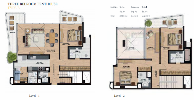 Planning of the apartment Penthouses, 2723 in Gemini Splendor Apartments & Townhouses, Dubai