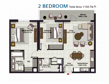 Planning of the apartment 2BR, 1150 in Island Park, Dubai