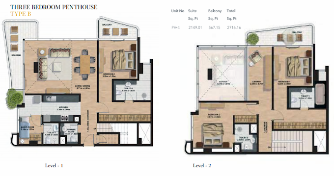 Planning of the apartment Penthouses, 2716.36 in Gemini Splendor Apartments & Townhouses, Dubai