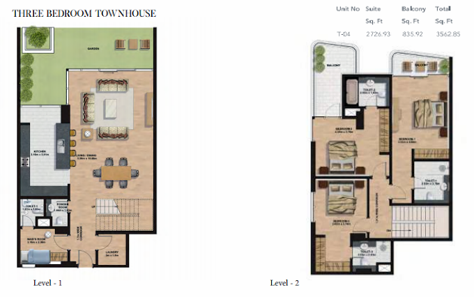 Planning of the apartment Townhouses, 3562.85 in Gemini Splendor Apartments & Townhouses, Dubai