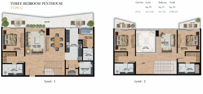 Planning of the apartment Penthouses, 2512 in Gemini Splendor Apartments & Townhouses, Dubai