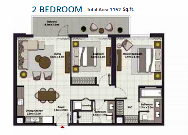 Planning of the apartment 2BR, 1152 in Island Park, Dubai
