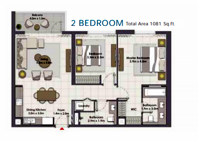 Planning of the apartment 2BR, 1081 in Island Park, Dubai