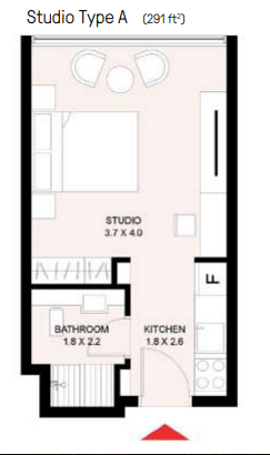 Planning of the apartment Studios, 294 in The Riff in East Village, Sharjah