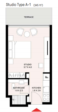 Planning of the apartment Studios, 345 in The Riff in East Village, Sharjah