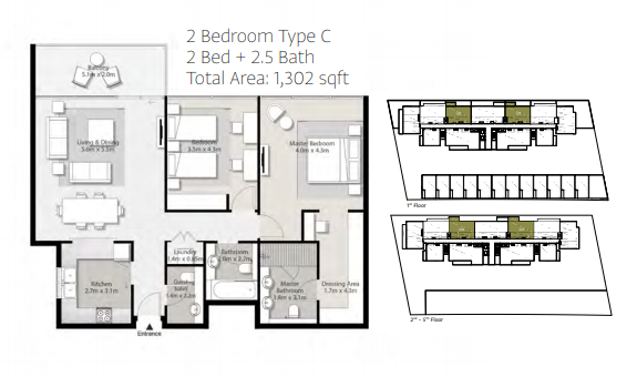 Planning of the apartment 2BR, 1302 in Misk Apartments, Sharjah