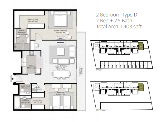 Planning of the apartment 2BR, 1403 in Misk Apartments, Sharjah