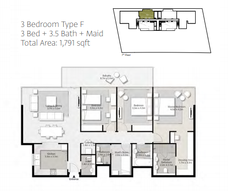 Planning of the apartment 3BR, 1791 in Misk Apartments, Sharjah
