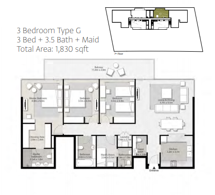Planning of the apartment 3BR, 1830 in Misk Apartments, Sharjah