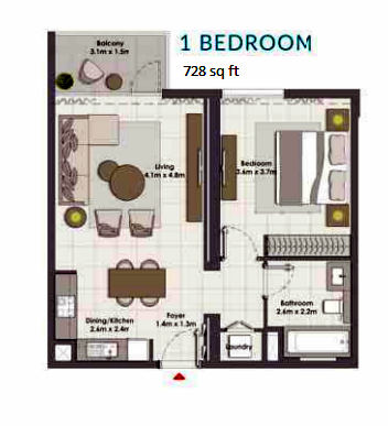 Planning of the apartment 1BR, 728 in Island Park, Dubai
