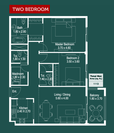 Planning of the apartment 2BR, 1113 in Ruby Residence, Dubai