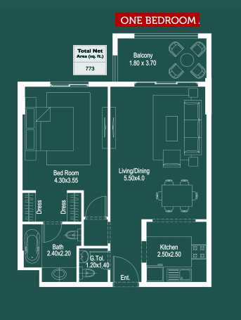 Planning of the apartment 1BR, 773 in Ruby Residence, Dubai