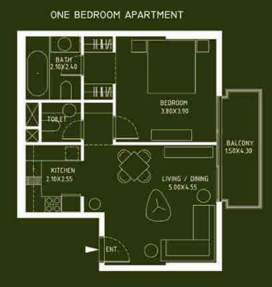 Planning of the apartment 1BR, 773 in Mont Rose, Dubai