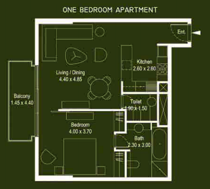 Planning of the apartment 1BR, 774 in Mont Rose, Dubai