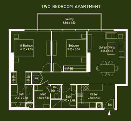 Planning of the apartment 2BR, 1139 in Mont Rose, Dubai