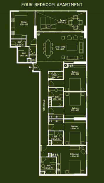 Planning of the apartment 4BR, 2245 in Mont Rose, Dubai
