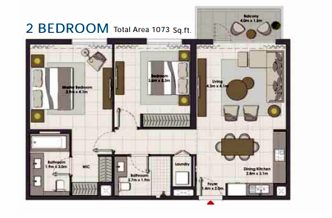 Planning of the apartment 2BR, 1073 in Island Park, Dubai