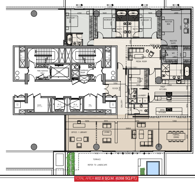 Planning of the apartment Duplexes, 6268 in One Palm, Dubai