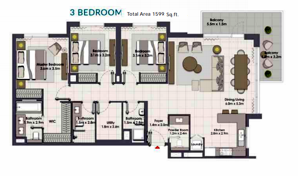 Planning of the apartment 3BR, 1590 in Island Park, Dubai