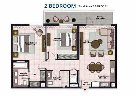Planning of the apartment 2BR, 1149 in Island Park, Dubai
