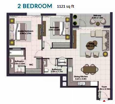 Planning of the apartment 2BR, 1121 in Island Park, Dubai