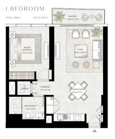 Planning of the apartment 1BR, 722.25 in Beach Vista Tower, Dubai