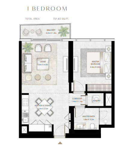 Planning of the apartment 1BR, 721.82 in Beach Vista Tower, Dubai