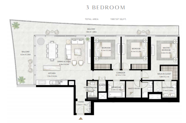 Planning of the apartment 3BR, 1967.97 in Beach Vista Tower, Dubai