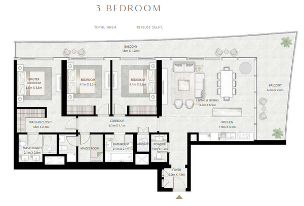 Planning of the apartment 3BR, 1978.62 in Beach Vista Tower, Dubai