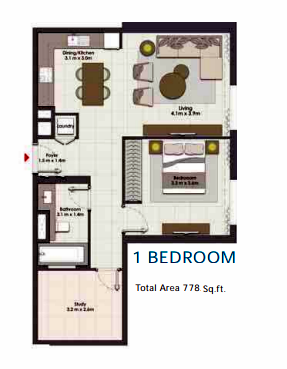 Planning of the apartment 1BR, 778 in Island Park, Dubai