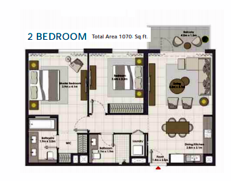 Planning of the apartment 2BR, 1070 in Island Park, Dubai