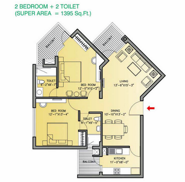 Planning of the apartment 2BR, 1395 in Park View Residences Apartments, Abu Dhabi