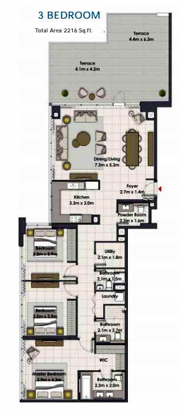 Planning of the apartment 3BR, 2216 in Island Park, Dubai