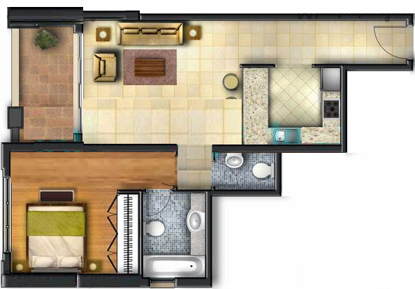 Planning of the apartment 1BR, 989 in Canal Residence West, Dubai