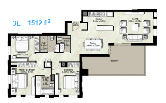 Planning of the apartment 3BR, 1512 in Canal Residence West, Dubai