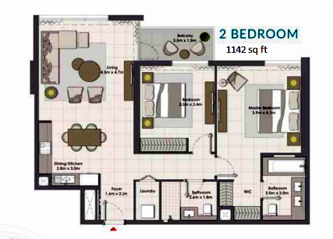 Planning of the apartment 2BR, 1142 in Island Park, Dubai