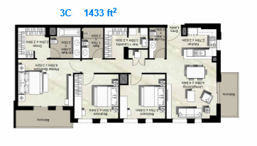 Planning of the apartment 3BR, 1433 in Canal Residence West, Dubai