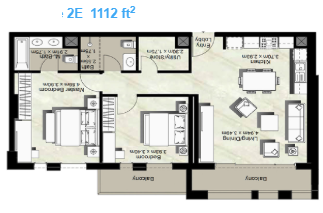 Planning of the apartment 2BR, 1112 in Canal Residence West, Dubai