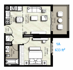 Planning of the apartment 1BR, 633 in Canal Residence West, Dubai