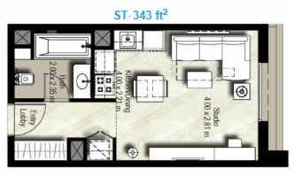Planning of the apartment Studios, 343 in Canal Residence West, Dubai