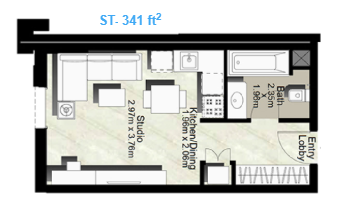 Planning of the apartment Studios, 341 in Canal Residence West, Dubai