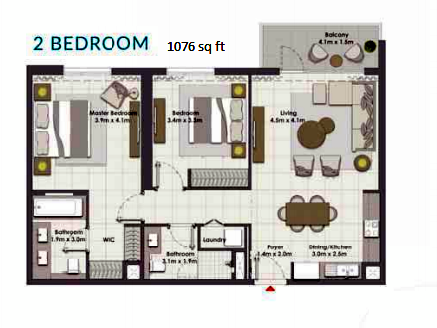 Planning of the apartment 2BR, 1076 in Island Park, Dubai