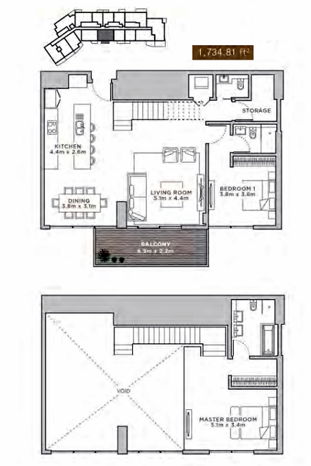 Planning of the apartment 2BR, 1734.81 in La Reserve Residences, Dubai