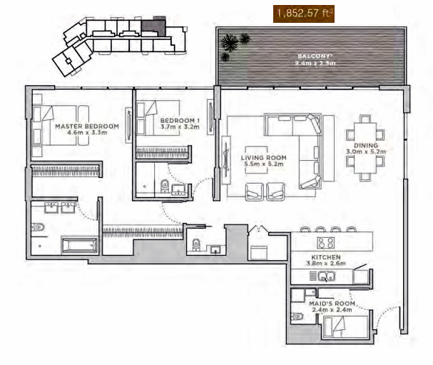 Planning of the apartment 2BR, 1852.57 in La Reserve Residences, Dubai