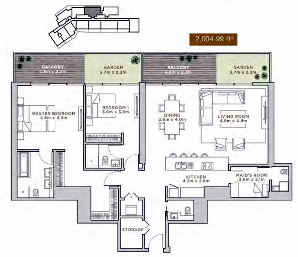 Planning of the apartment 3BR, 2004.99 in La Reserve Residences, Dubai