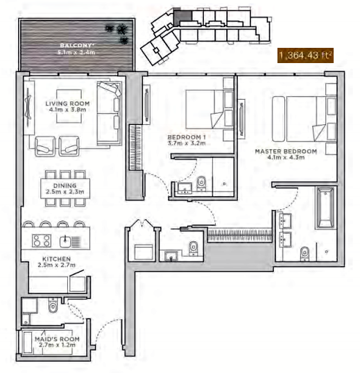 Planning of the apartment 1BR, 1364.43 in La Reserve Residences, Dubai