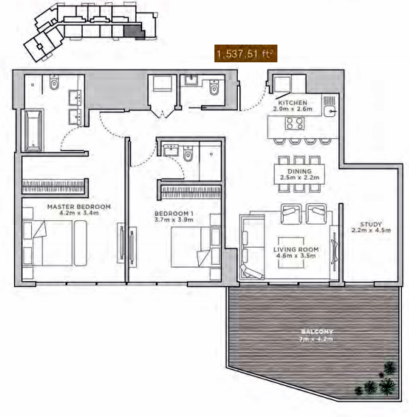 Planning of the apartment 1BR, 1537.51 in La Reserve Residences, Dubai
