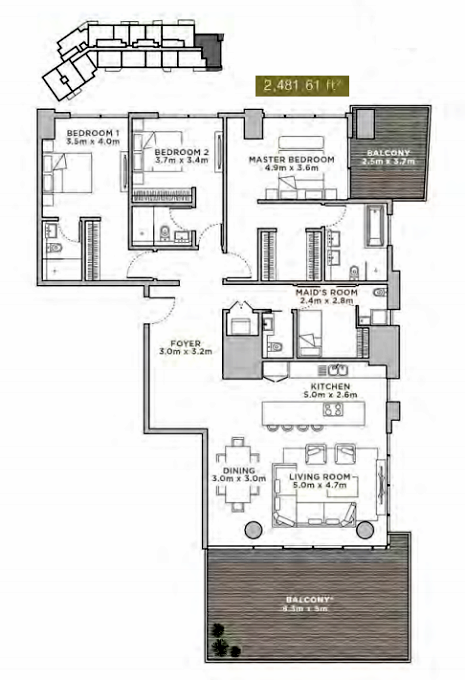 Planning of the apartment 3BR, 2481.61 in La Reserve Residences, Dubai