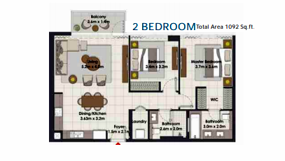 Planning of the apartment 2BR, 1092 in Island Park, Dubai